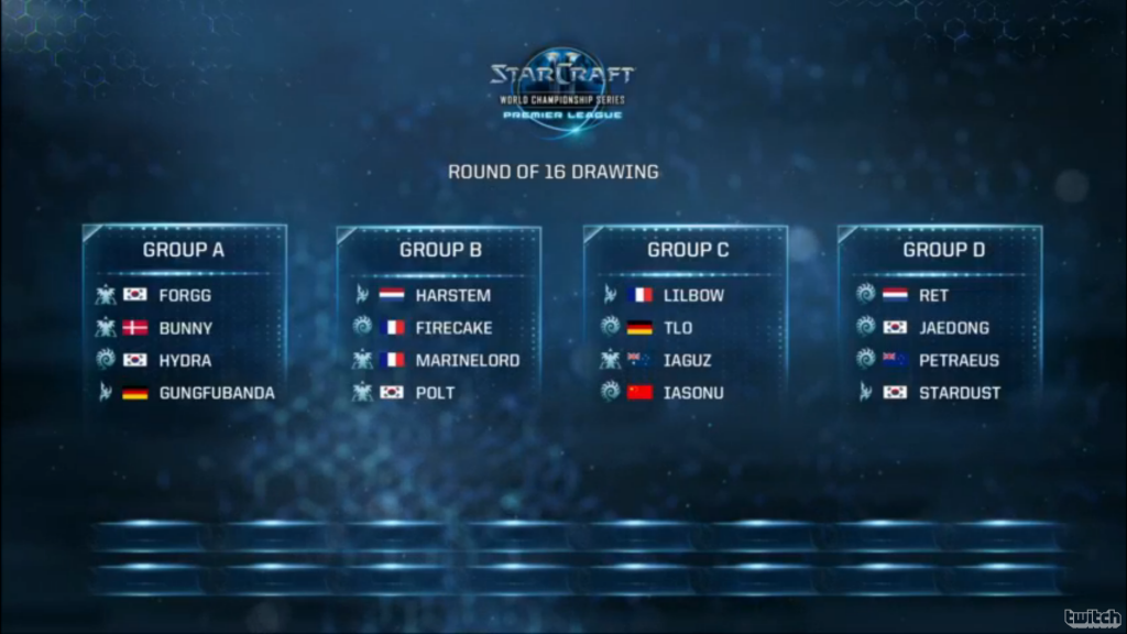 Round of 16 group drawing WCS Premier League Season 2