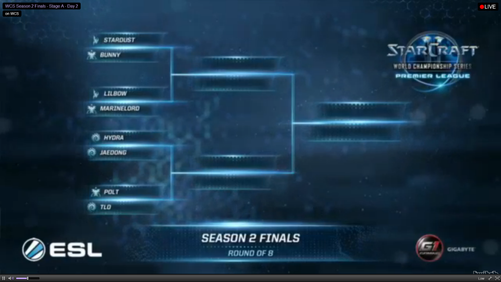 Round of 8 match-up drawing WCS Premier League Season 2