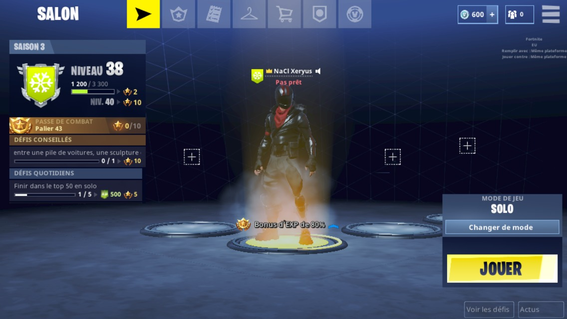 Fortnite sur mobile acceuil