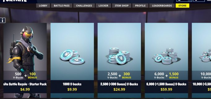 starter pack Fortnite store