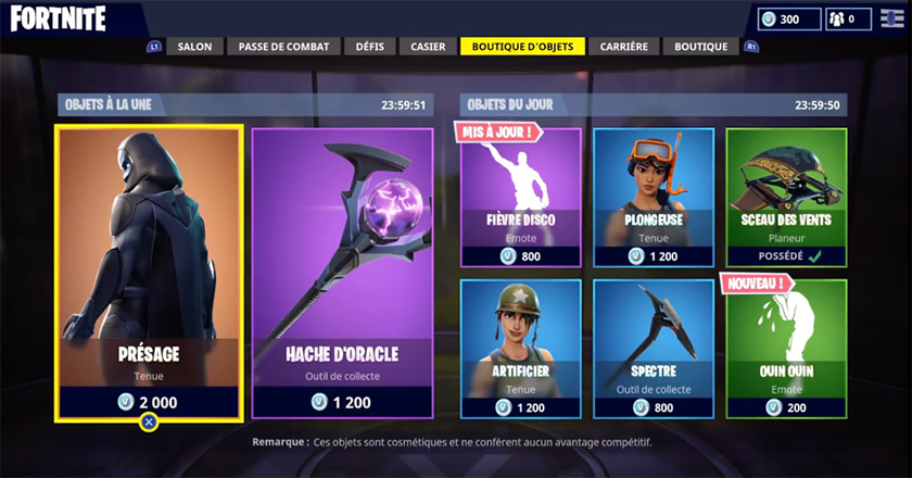 fortnite boutique 18 juin 2018