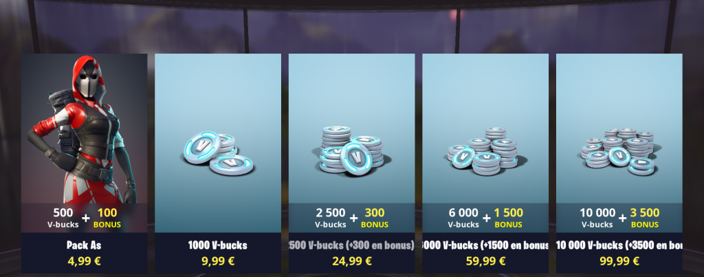prix boutique fortnite