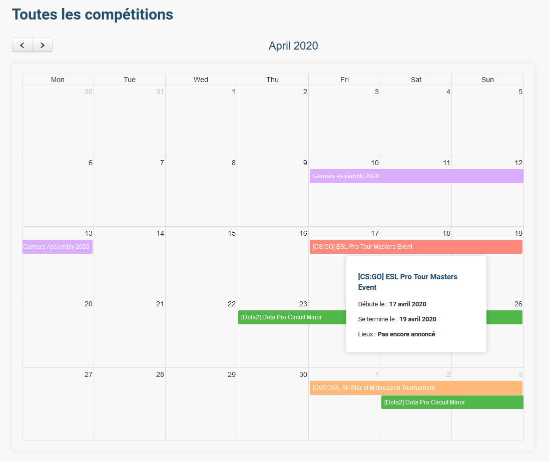 calendrier connectesport