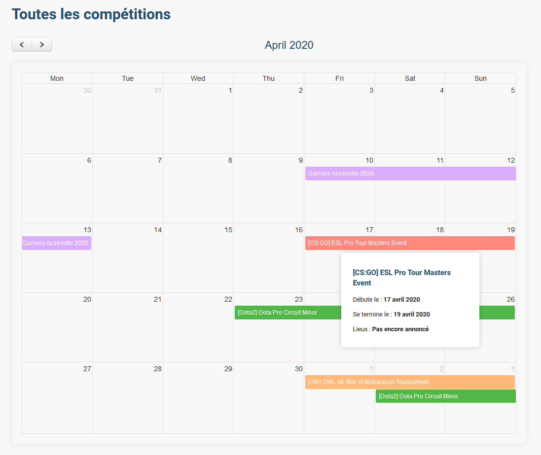 calendrier connectesport