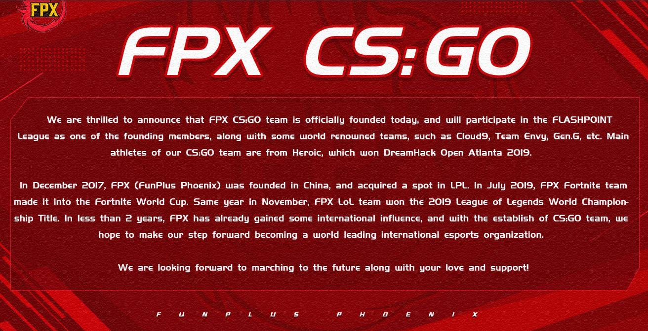 funplus phoenix annonce csgo heroic