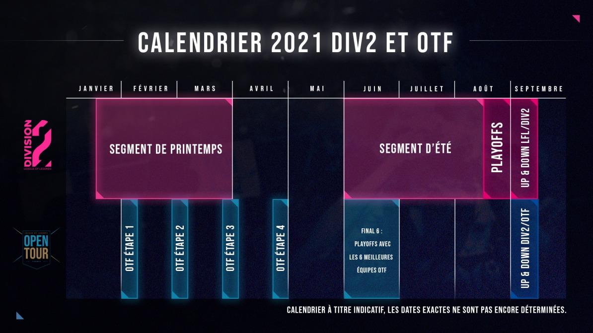 calendrier 2021 otf division 2